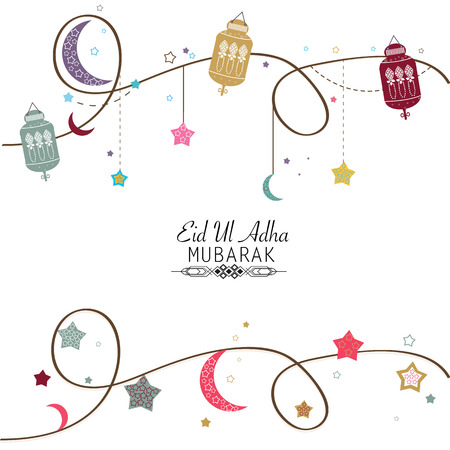 islamic Festival of Sacrifice, Eid-Ul-Adha celebration greeting card.Eid Al Adha mubarak poster. Hanging colorful lantern vector illustration