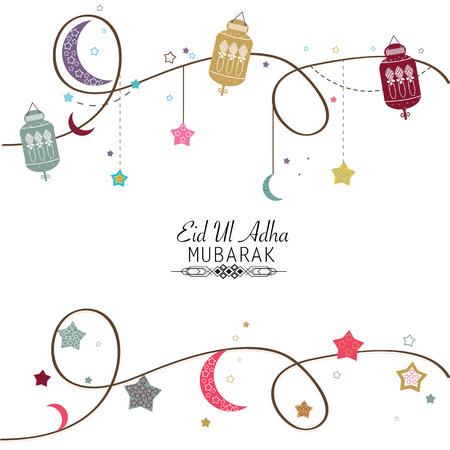 sacrificio: Festival islámico del sacrificio, Eid-Ul-Adha saludo de celebración cartel card.Eid Al Adha Mubarak. Hanging ilustración vectorial colorido linterna
