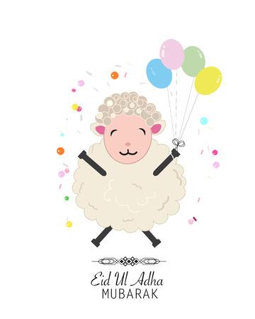 sacrificio: ilustración vectorial ovejas. Globo colorido. Festival islámica del Sacrificio, tarjeta de felicitación de la celebración de Eid-al-Adha