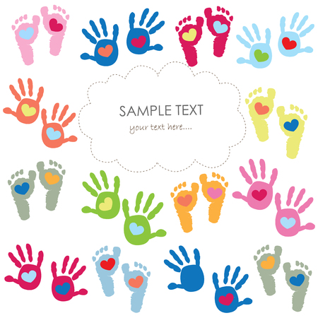 Baby footprints and hands kids colorful greeting card vector Illustration