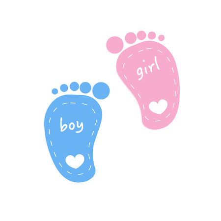 Baby footprints twin baby girl and boy vector Illustration