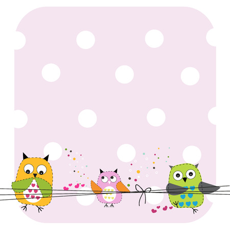 greeting: Cute Owls Family Baby Shower greeting card vector illustration Illustration
