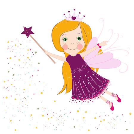 Cute purple fairy tale vector