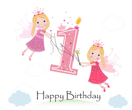Happy first birthday with cute fairy tale greeting card vector