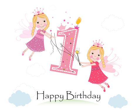Gelukkige eerste verjaardag met leuke sprookje wenskaart vector