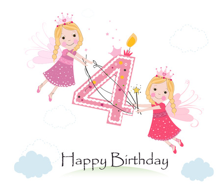 fourth birthday: Happy fourth birthday with cute fairy tale greeting card vector Illustration