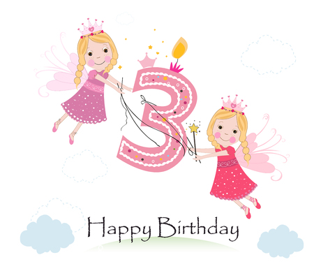 third birthday: Happy third birthday with cute fairy tale greeting card vector Illustration