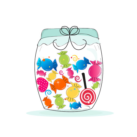 Jar of candy. Colorful sweet candy vector illustration Vettoriali