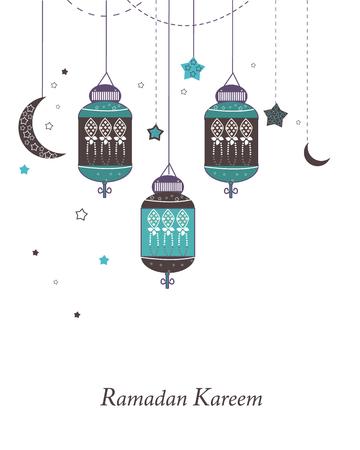 ラマダン カリーム、ランプ、三日月、星。ラマダン ベクトルの伝統的なランタン