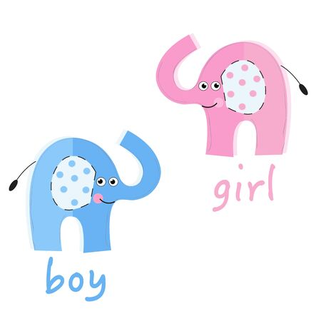 twin: Twin baby girl and boy greeting card. Baby elephants baby shower vector background Illustration
