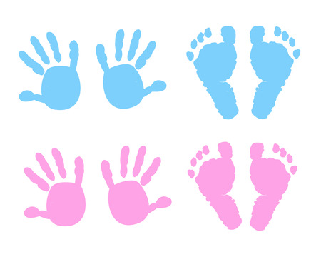Baby girl, baby boy hand and foot print vector illustration