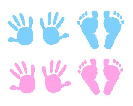 little girl feet: Baby girl, baby boy hand and foot print vector illustration