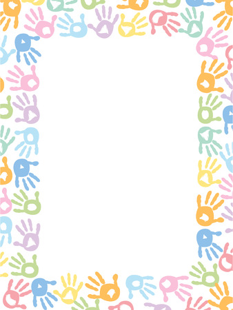 Baby hand prints pastel coloured frame vector illustration Illustration