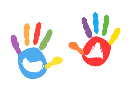 Colorful kids handprint vector illustration 矢量图像