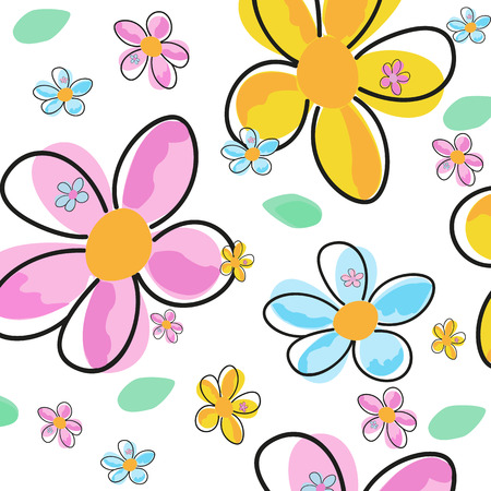 textiles: Decorative colorful spring flower abstract textile pattern vector illustration Illustration