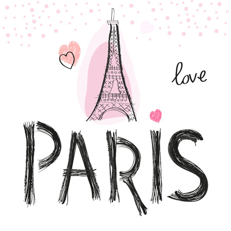 Eiffel tower and hearts. Paris hand drawn letter vector illustration poster design
