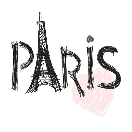 Eiffel tower. Paris hand drawn letter vector illustration poster design Ilustrace