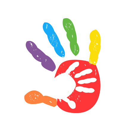Hand in hand vector. Colorful handprints vector illustration