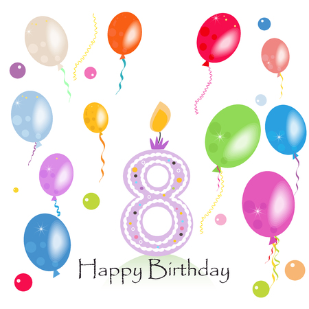 eighth: Happy eighth birthday candle vector with colorful confetti and balloons vector illustration. Happy birthday card