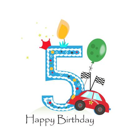 Bonne cinquième bougie d'anniversaire. Bébé carte garçon de voeux avec course vecteur voiture illustration Vecteurs