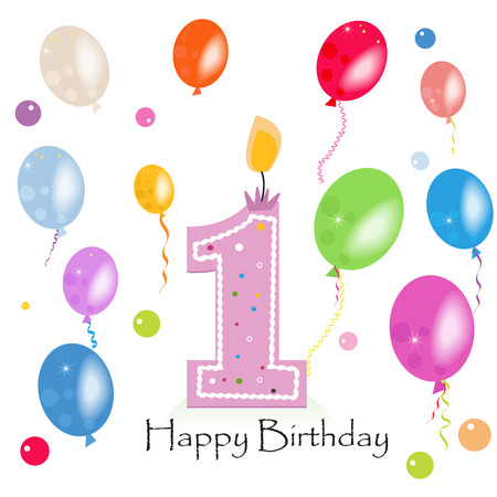 first birthday: Happy first birthday candle vector with colorful confetti and balloons
