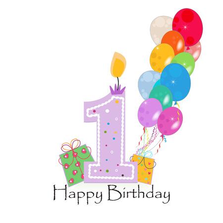 Buon primo candela di compleanno vettoriale con coriandoli colorati e palloncini Archivio Fotografico - 60216039