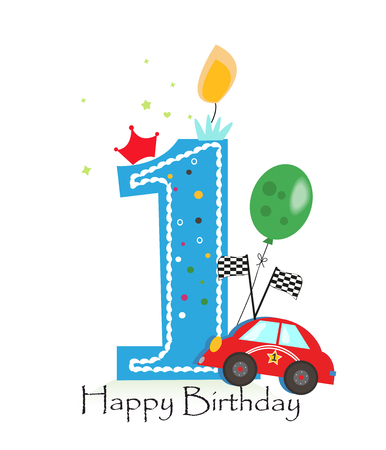 Happy first birthday candle. Baby boy greeting card with race car vector illustration