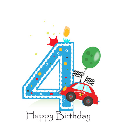 Happy fourth birthday candle. Baby boy greeting card with race car vector illustration