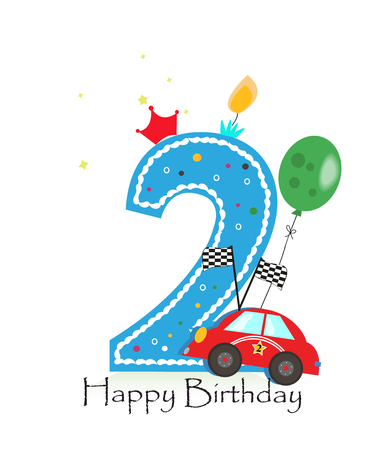Happy second birthday candle. Baby boy greeting card with race car vector illustration