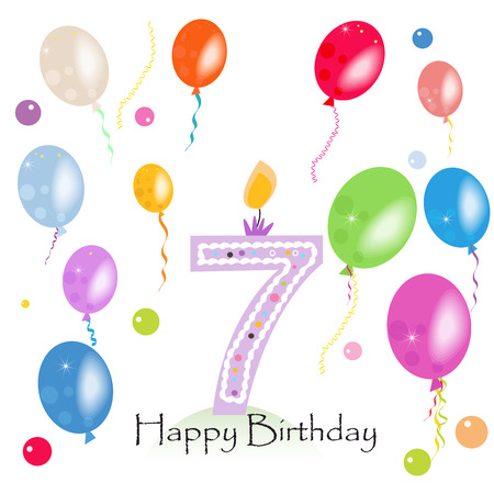 Happy seventh birthday candle vector with colorful confetti and balloons Illusztráció