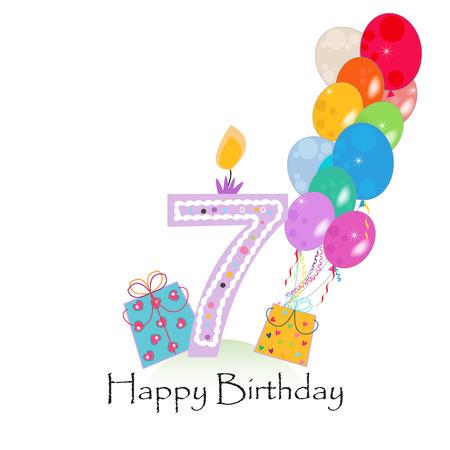 Buon settimo candela di compleanno vettoriale con coriandoli colorati e palloncini Archivio Fotografico - 60216049