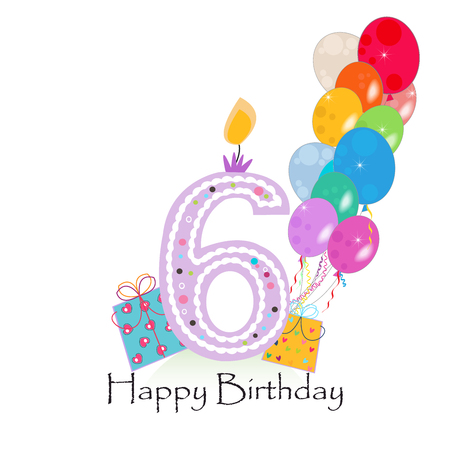 the sixth: Happy sixth birthday candle vector with colorful confetti and balloons