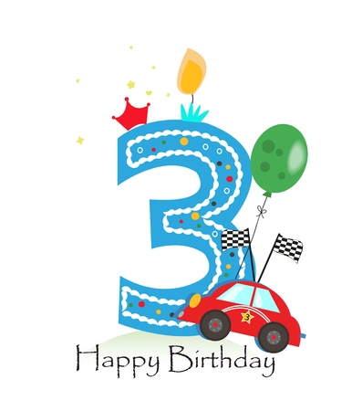 third birthday: Happy third  birthday candle. Baby boy greeting card with race car vector illustration