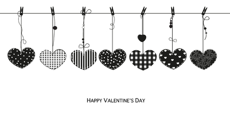 Happy Valentines Day card with hanging black Love Valentines hearts vector illustration