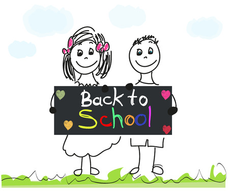 copy writing: Back to school with doodle kids and colorful letters vector illustration