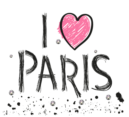 i love paris hand drawn letter with sparkling dots and paint splash poster design vector illustration Ilustrace