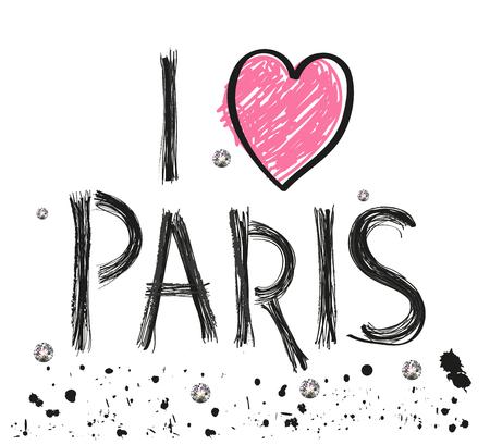 i love paris: i love paris hand drawn letter with sparkling dots and paint splash poster design vector illustration Illustration