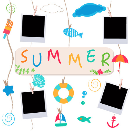 fish in ice: Summer holidays. Hanging summer beach products and blank photo. Sea shells, anchor, fish, ice cream and starfish on the beach Illustration
