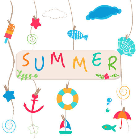 fish in ice: Summer holidays. Hanging summer beach products and blank photo. Sea shells, anchor, fish, ice cream and starfish on the beach vector