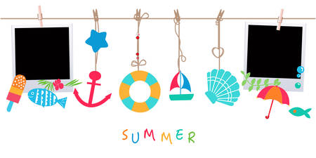 fish in ice: Summer holidays. Hanging summer beach products and blank photo. Sea shells, anchor, fish, ice cream and starfish on the beach vector illustration