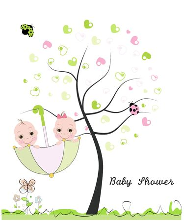 twin: Baby shower greeting card. Twin baby. Made of heart tree. Doodle flowers, baby, ladybird vector illustration Illustration