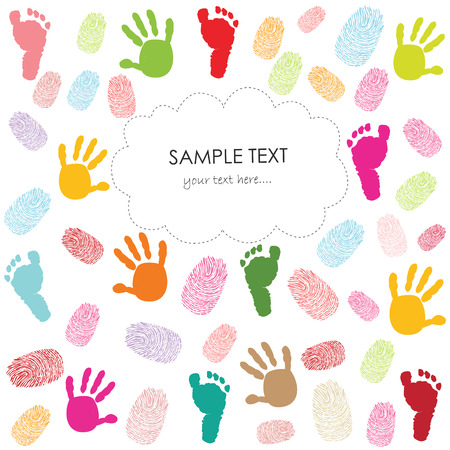 finger prints: Baby footprint, hand prints and finger prints kids greeting card vector illustration
