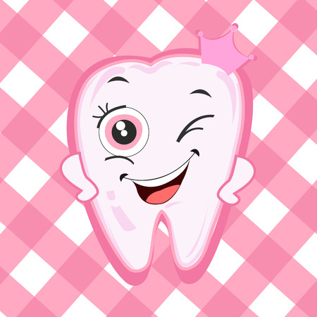 Baby first tooth for girls. Tooth with crown vector illustration 일러스트