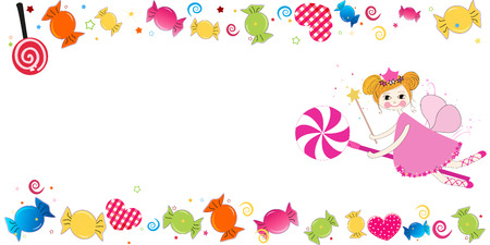 bayram: Colorful sweet candies. Traditional candies for Seker Bayram holiday. Greeting Card vector illustration. Lovely fairy with candy vector illustration Illustration