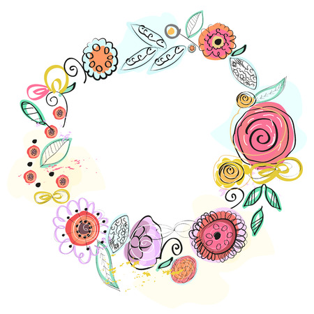 Floral frame, natural wreath for design.colorful beautiful illustration 向量圖像