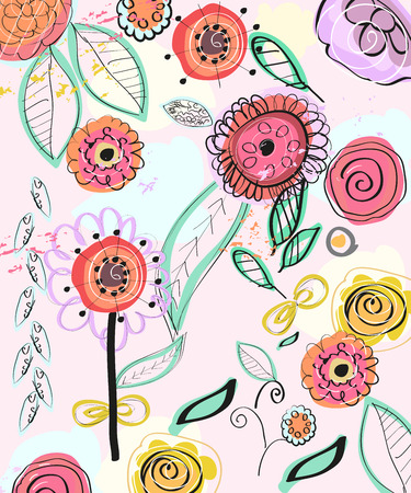 Floral pattern. Colorful spring flowers. Hand drawn vector illustration of natural background 向量圖像