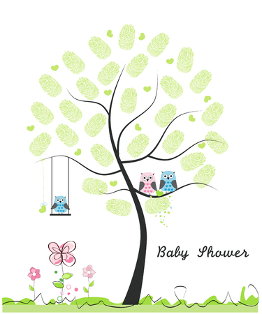 finger prints: Baby shower greeting card. Baby boy. Baby owl. Owl family with finger prints made of tree vector illustration Illustration
