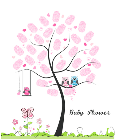 finger prints: Baby shower greeting card. Baby girl. Baby owl. Owl family with finger prints made of tree vector illustration