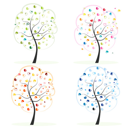 Four season. Made of heart tree. Spring, autumn, fall, summer tree vector illustration