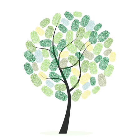 Green tree with finger prints vector illustration Иллюстрация